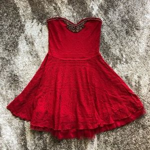 Red Strapless Dress w/ Beading